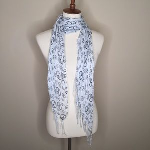 Peace Sign Black and White Fringed Linen Scarf